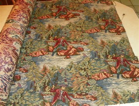 Tapestry Material Upholstery by Fly Fishing Print Tapestry Upholstery Fabric 1 Yard R365
