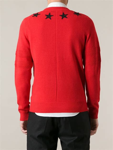 lyst givenchy star sweater  red  men