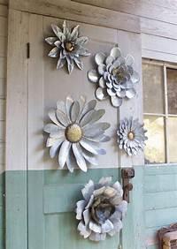 outside wall decor 5 Galvanized Metal Flower Wall Art Sculptures Indoor Outdoor Decor ~ Set Of 5   eBay