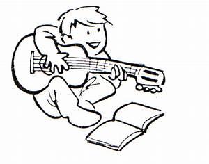 Dibujo para colorear Niño tocando la guitarra 01