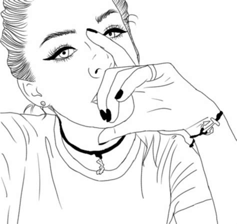 art beautiful black cute girl outlines tumblr white