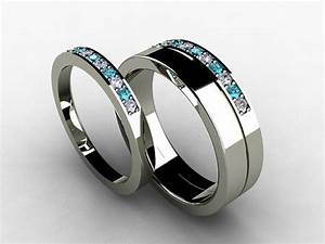 Wedding band set titanium ring blue diamond titanium for Mens wedding ring with blue diamonds