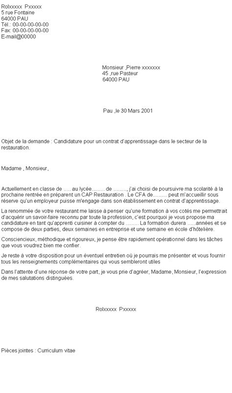 contrat d apprentissage cuisine 6 lettre de motivation pour contrat d apprentissage
