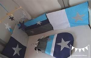 Tour De Lit Bleu Marine : sur commande ensemble tour de lit gigoteuse turbulette 0 6 mois bleu marine turquoise ~ Teatrodelosmanantiales.com Idées de Décoration