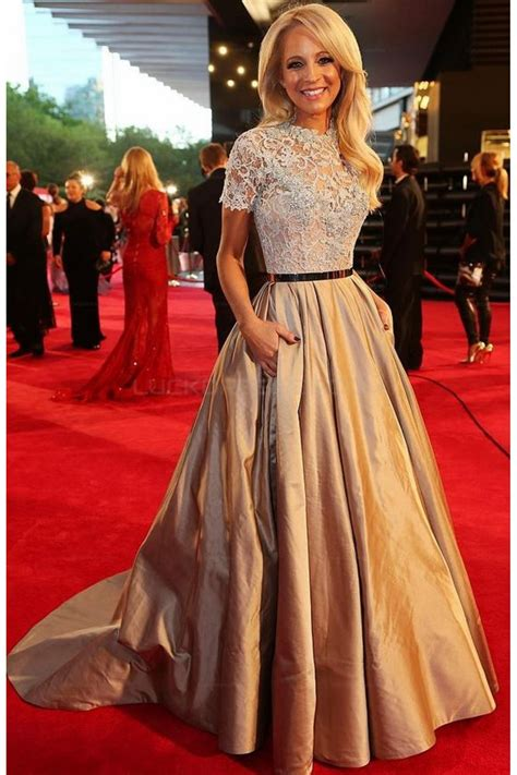 elegant short sleeves lace ball gown long prom evening