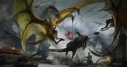 Ghidorah Headed Monster Three Godzilla Wallpapers Background