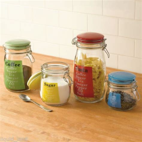 colored glass kitchen canisters set of 4 glass kitchen canisters w multi colored lids
