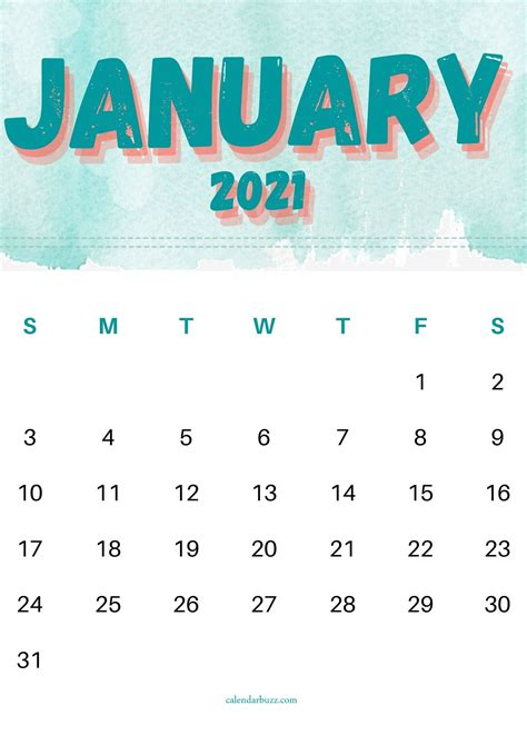 january  watercolor printable calendar