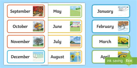 month   year word cards teacher