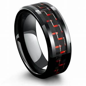 8mm Mens Black Tungsten Wedding Band With Black Red