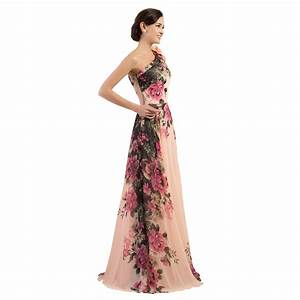 one shoulder long printed flower evening bridesmaid dress With printed wedding dress