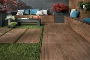 carrelage imitation parquet bois design porcelaine With idees de jardin avec des galets 18 salle de bains parquet carrelage ideeco