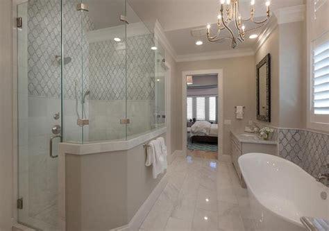 walk shower tub transitional bathroom