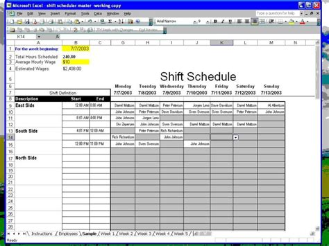create employee schedule polar explorer