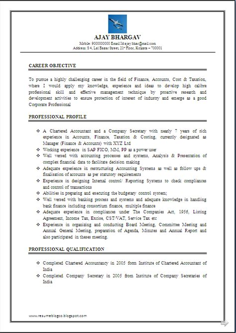 Experience In Resume For Accountant by Resume Co Resume Sle Of Chartered Accountant Ca Company Cs 7