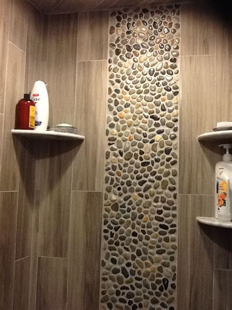 Pebble Tile Bathroom Ideas by Glazed Bali Pebble Tile Shower Wall Accent Found At