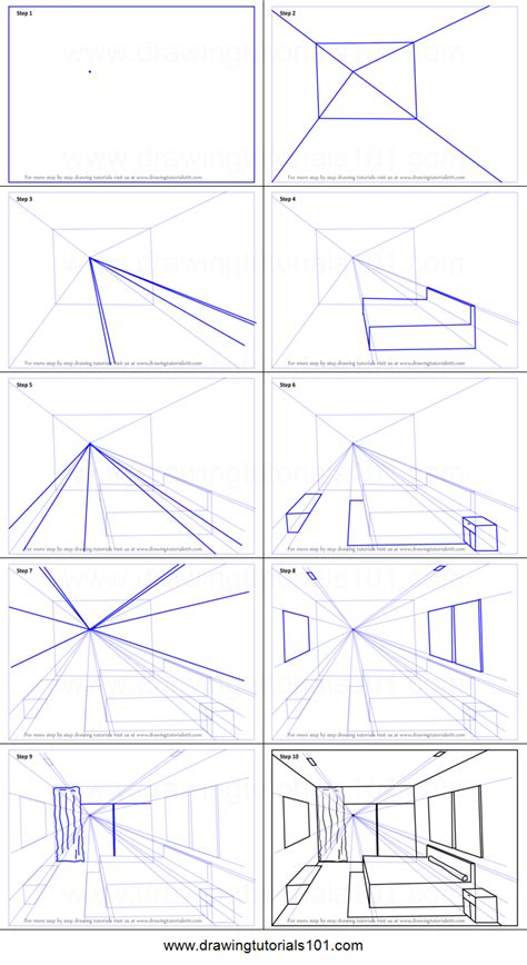 Drawing A Bedroom In One Point Perspective by How To Draw One Point Perspective Bedroom Printable Step