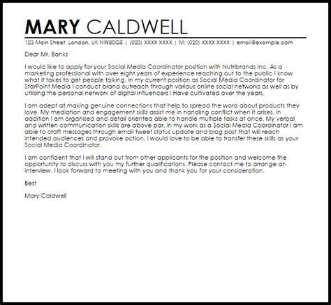 social media coordinator cover letter sample cover