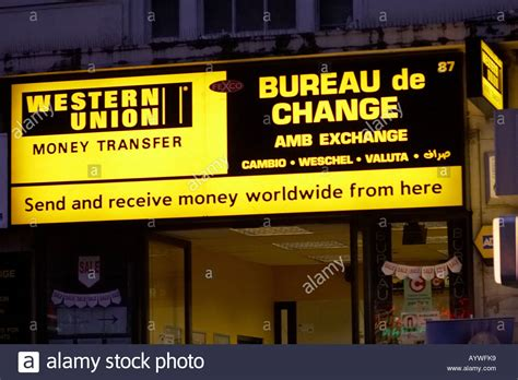 western union bureau de change western union money transfer bureau de change in uk stock photo royalty free image