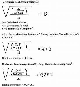Querschnitt Berechnen Formel : transformatoren und drosseln selbstgewickelt ~ Themetempest.com Abrechnung