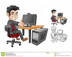 Businessman Working With Computer Cartoon Character Stock ...