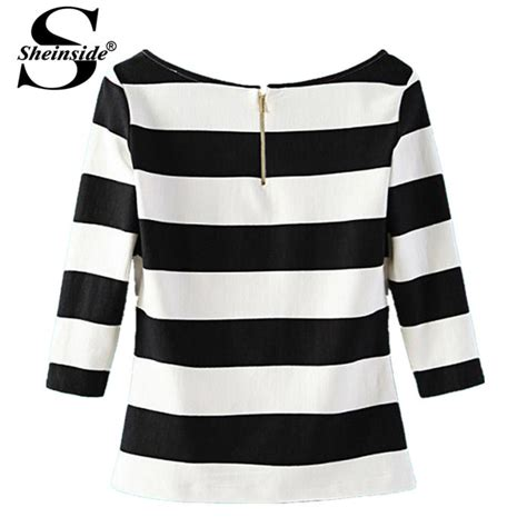 striped trim sleeve t shirt womens black and white blouse clothing