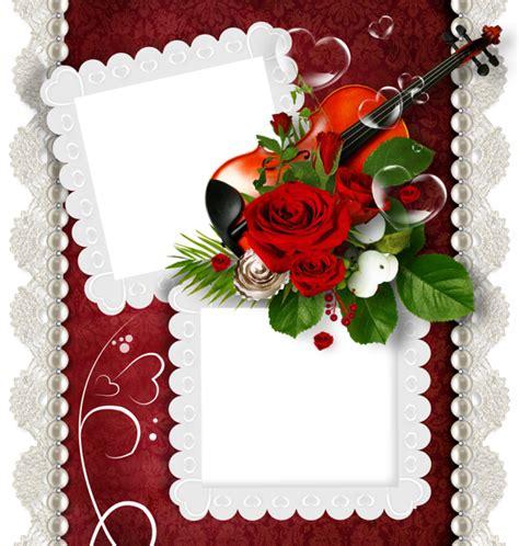 romantic double transparent png frame  violin  rose