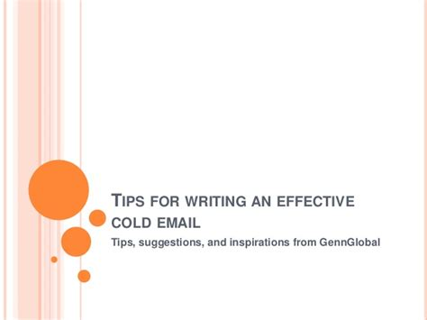 tips for writing an effective tips for writing an effective cold email