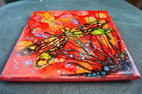 kellie chasse ink paintings on ceramic tiles