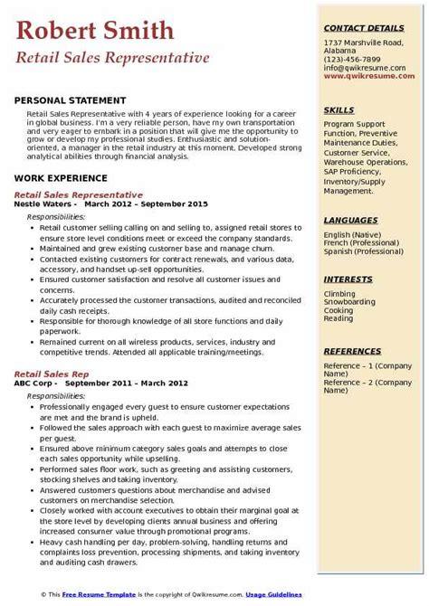 Retail Sales Representative Resume by Retail Sales Rep Resume Sles Qwikresume