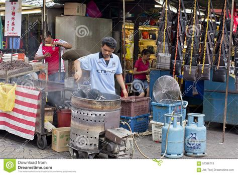 frying chestnut petaling street kuala lumpur malaysia