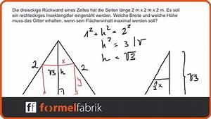 Lagerkosten Berechnen Formel : extremwertaufgabe rechteck im gleichseitigen dreieck maximieren mittelschwer youtube ~ Themetempest.com Abrechnung