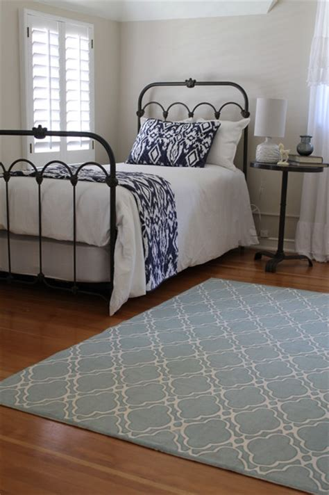 blue and white bedroom iron bed blue and white bedding anthropologie style 14613 | traditional bedroom