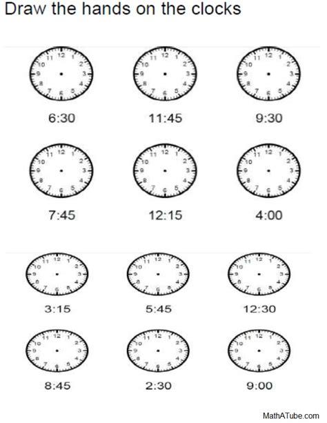 telling time worksheets missing hands time clock