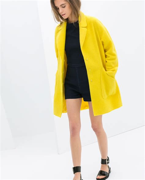 Jacket yellow zara mohair blazer neon - Wheretoget