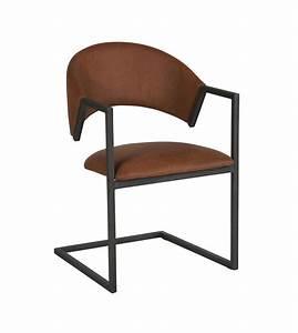 Chaise Salon Design : chaise design industriel loft cuir et m tal marron chic et pas cher ~ Teatrodelosmanantiales.com Idées de Décoration