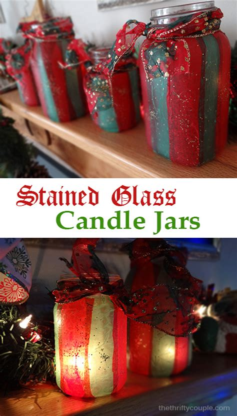 diy stained glass tissue paper jar candle holders