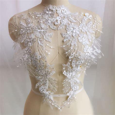 1 pair lace applique trim embroidery sewing motif diy
