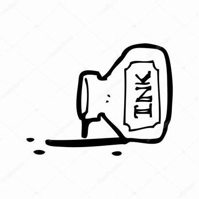 Ink Cartoon Pot Spilled Vector Illustration Background