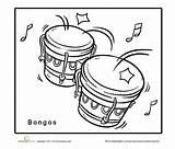 Coloring Bongo Cuba Drums Education Worksheets sketch template