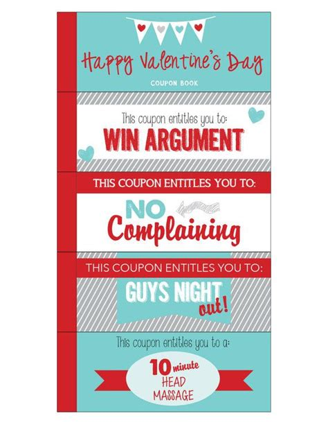 Valentine Coupon Book  Printable Love Coupons Romantic
