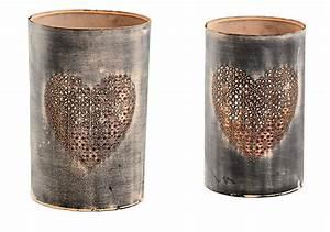 Windlicht Mit Gravur : metall windlicht mit herz shabby vintage in braun h 21cm 24cm 2er set ~ Sanjose-hotels-ca.com Haus und Dekorationen
