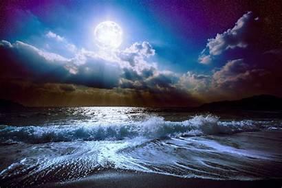Moon Night Ocean Nature Sea Sky Scenery