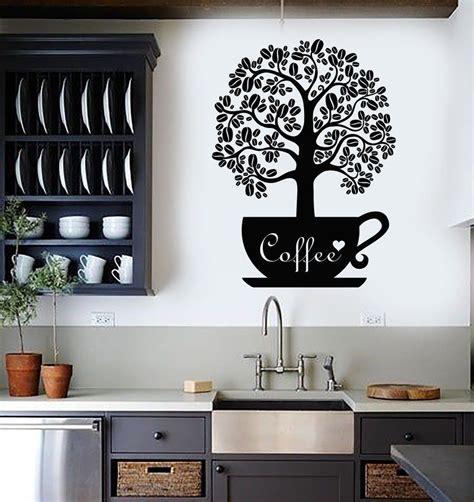 Kitchen Decor Vinyl by Vinyl Wall Decal Coffee Beans Shop Tree Kitchen Decor