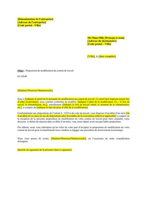 Modification Du Contrat De Travail En by Lettre De Proposition De Modification Du Contrat De