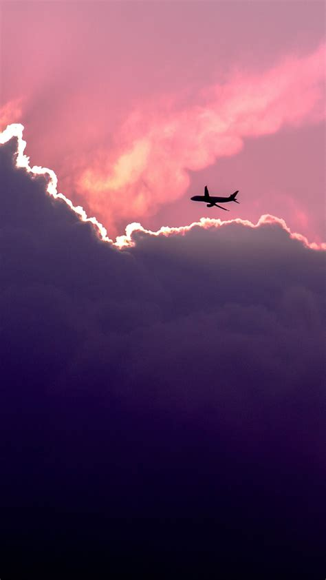 Plane Above Sunset Clouds Iphone 6 Wallpaper Wallpapers