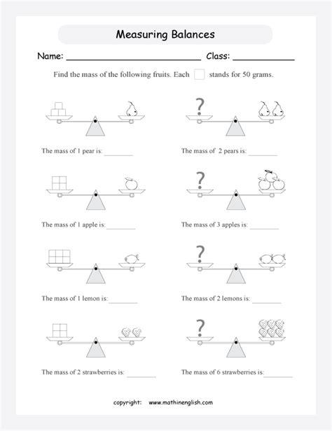 All Worksheets » Mass Worksheets Grade 1 Printable