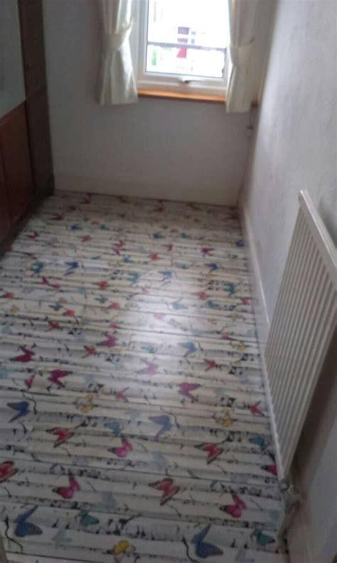 decoupage floor  wallpaper  backing removed