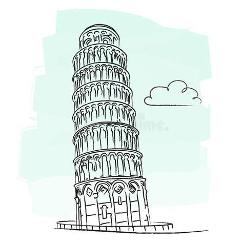 toren van pisa tekening de toren van pisa vector illustratie illustratie