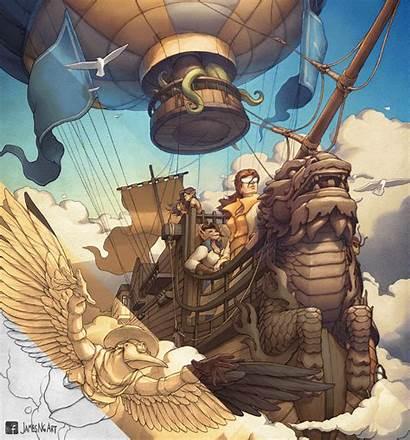 Steampunk Airship Illustration Brass Ng Jamesngart James
